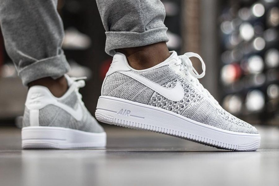Air Low Force Nike 1 Blanche Flyknit Homme 9WEDH2I