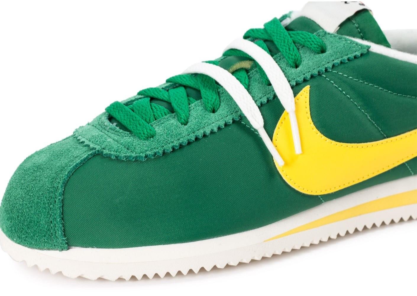 nike cortez vert jaune